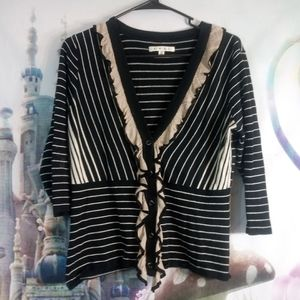 🍁- Cabi black and white striped blouse